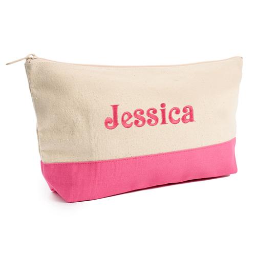 Hot Pink Weiß Bestickte Kosmetiktasche Personalisieren 17,8 x 27,9 cm
