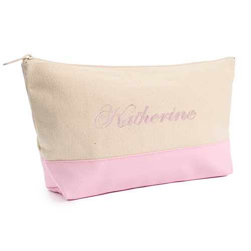 Pink Weiß Bestickte Kosmetiktasche Personalisieren 17,8 x 27,9 cm