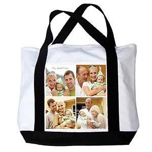 Schultertragetasche Kollage Vier Fotos, Weiss