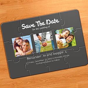 Konfirmation und Kommunion Einladung als Fotopuzzle, 3 Fotos, Grau
