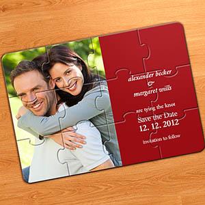 Schön Hochzeitspuzzle, Einladung, Rot
