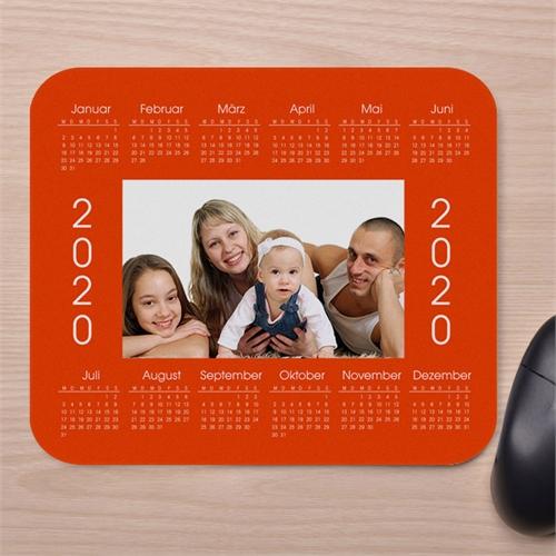 Elegantes Fotokalender Mauspad, Orange