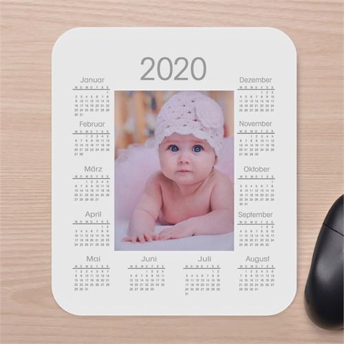 Designer Fotokalender Mauspad Weiß
