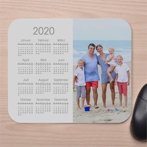 Einfaches Fotokalender Mauspad Weiß