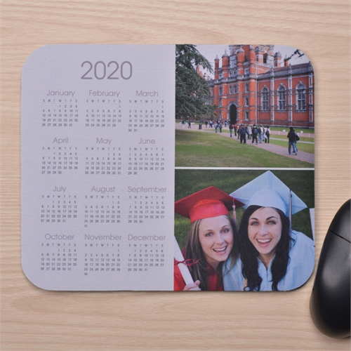 Zwei Foto Kalender Kollage Mauspad Weiß
