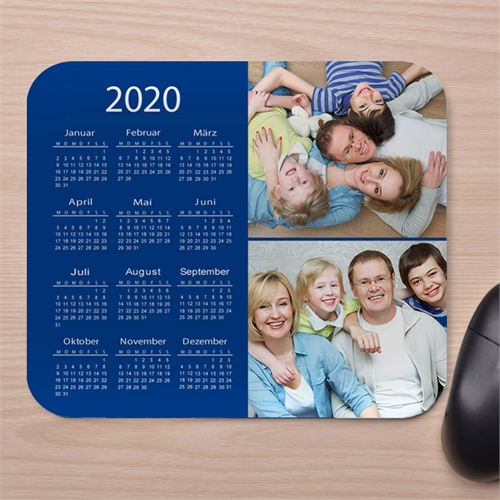 Zwei Fotos Kollage Kalender Mauspad Blau 2016