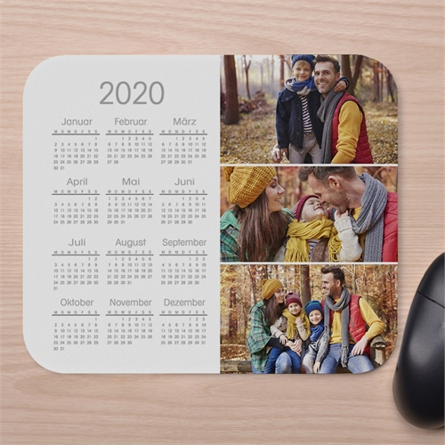 Drei Fotos Kalender Kollage Mauspad Weiß