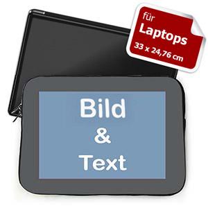 Personalisierte Laptop Tasche, Medium, Grauer Rand