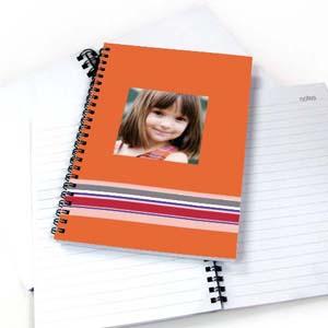 Notizbuch, Buntgestreift, Orange