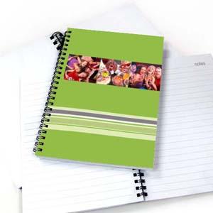 Notizbuch, Drei Fotos, Buntgestreift, Grün