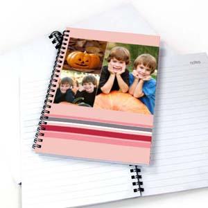 Notizbuch, Drei Fotos, Buntgestreift, Pink