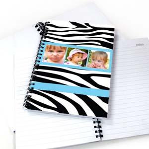 Notizbuch Dreier Kollage Zebra Cooles Blau