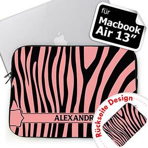Pink Zebra Initialen Schwarz & Pink MacBook Air 13 Tasche