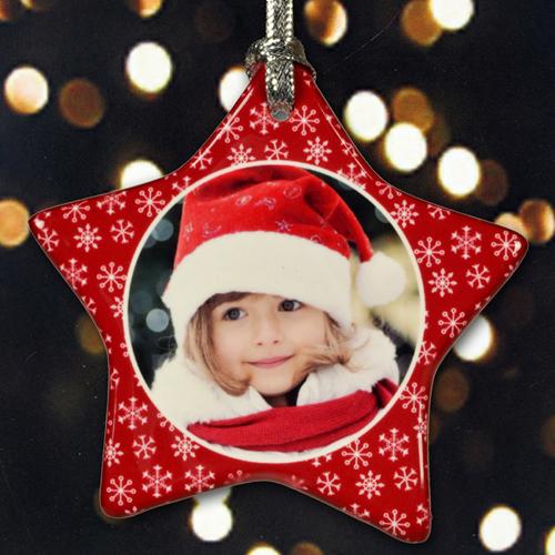 Schmuck Weihnachten.Glitzerndes Schneeflöckchen Rot Schmuck Weihnachten Einseitig Personalisieren