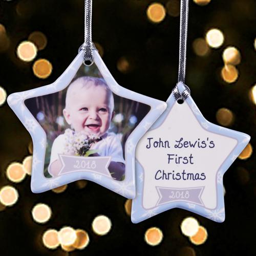 Porzellan Weihnachten.Gluck Im Schnee Schmuck Aus Porzellan Weihnachten Einseitig Personalisieren