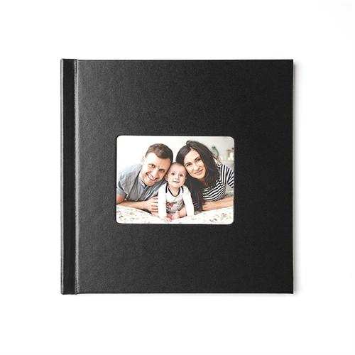 Fotobuch 30,5 x 30,5 cm SCHWARZ Leder gebunden