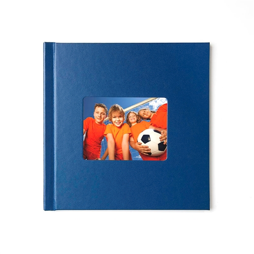 Fotobuch 20,32 x20,3 cm Navy Blau Leder gebunden