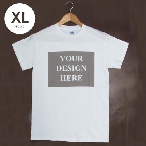 T-Shirt Weiß Baumwolle Mein Text Mein Bild Größe XL für Erwachsene