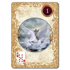 Gold Lenormand cards with meanings on back
